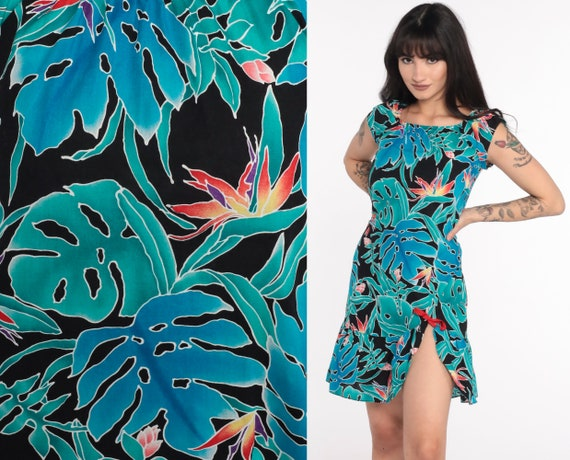Hawaiian Mini Dress 80s Floral Slit Floral Dress Shift 1980s Boho Dress Summer Tropical Dress Vintage Bohemian Extra Small xs