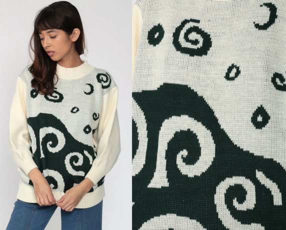 80s Swirl Sweater Cream Abstract Sweater FUNNEL Neck 80s Grunge Geometric Print 1980s Slouch Vintage Green Oversize Knit Small Medium