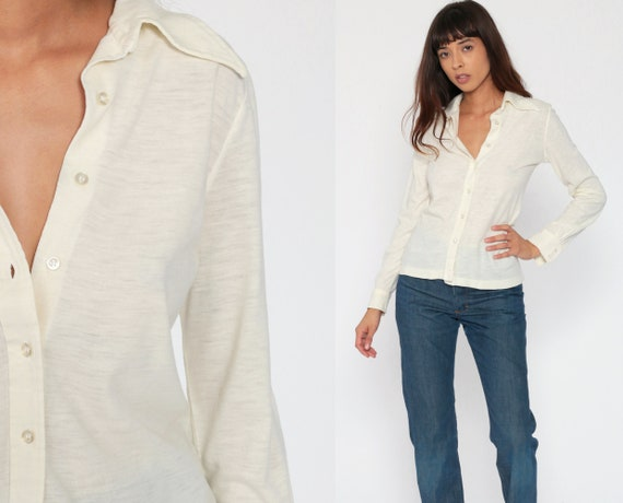 70s Long Sleeve Shirt Cream Half Button Up Blouse Disco Shirt Plain Shirt Vintage Oxford Collared Small