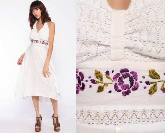 Mexican Dress Handkerchief Crochet EMBROIDERED Boho Gauze HANKY Bohemian Halter Neck Vintage Deep V Hippie Off White Floral Medium Large