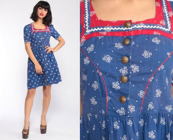 Dirndl Dress German OKTOBERFEST 70s Mini Floral Puff Sleeve Folk 1970s Peasant Octoberfest Costume Ethnic Vintage Blue Red Extra Small xs
