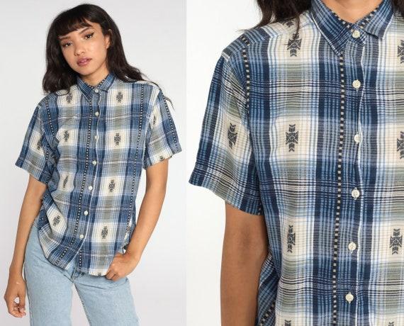 Blue Plaid Shirt 80s Button Up Shirt Checkered Print Short Sleeve Boho 1980s Top Short Sleeve Shirt Vintage Medium