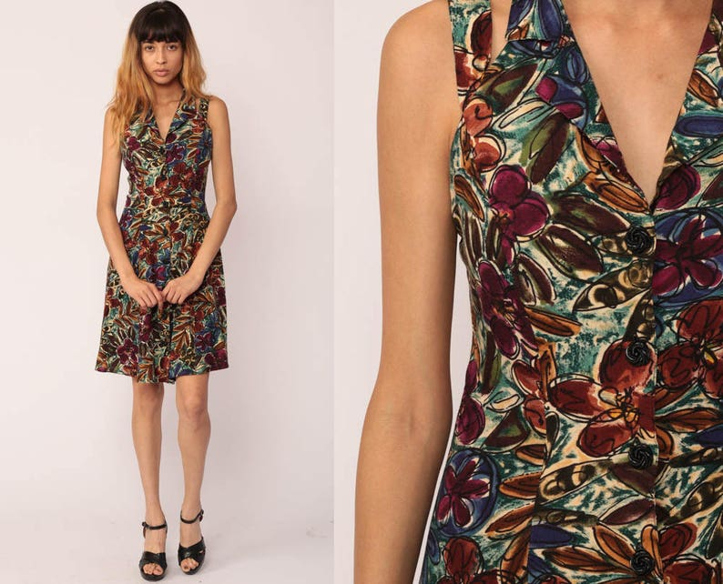 f3d7cd05f0 90s Floral Dress Grunge Sundress Boho Mini Button Up HALTER