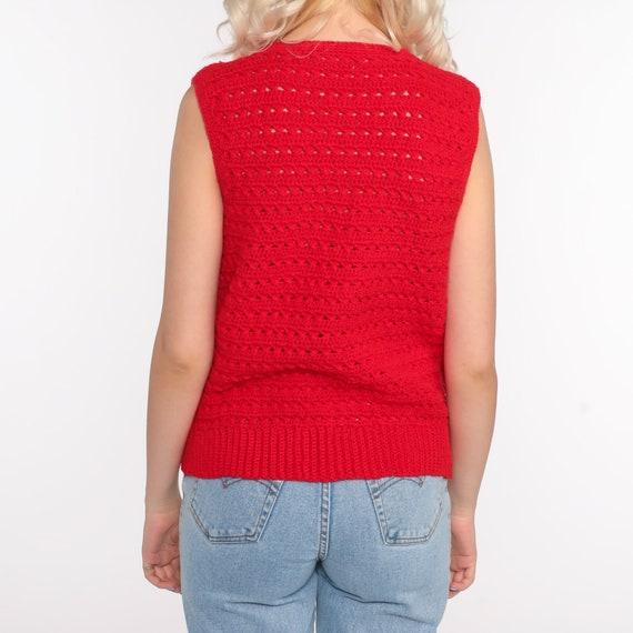Crochet Vest Red Knit Top 70s Hippie Boho Vest Op… - image 7