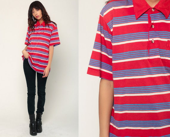Polo Shirt 80s Striped Half Button Up Shirt Retro Collared Shirt Red Blue White 1980s Nerd Geek Vintage Short Sleeve Extra Large xl
