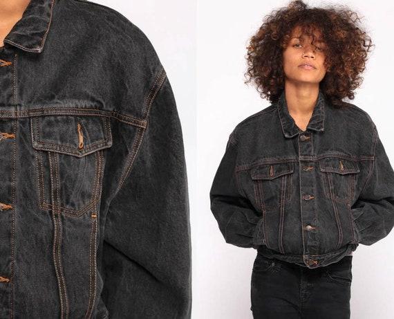 Black Jean Jacket GAP Jean Jacket 80s Denim Jacket Vintage Biker 90s Grunge Faded Oversized Hipster Trucker Coat 1980s Medium
