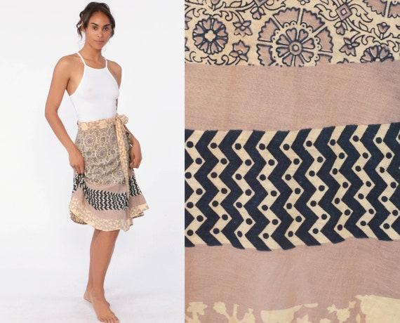 Wrap Skirt Hippie Indian FLORAL PRINT Mini Skirt Ethnic Boho Cotton Bohemian Batik High Waist Vintage Festival Tan Blue Extra Small xs s