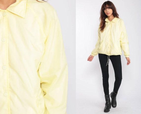 Yellow Jacket Baseball Jacket Windbreaker Retro 80s Raglan Sleeve Jacket Pastel Snap Up Normcore 1980s Vintage Sports Medium