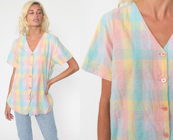 80s Pastel Rainbow Shirt -- Baby Blue Pink Checkererd Blouse Button Up Kawaii Color Block Cotton 1980s Short Sleeve Boho Extra Large xl