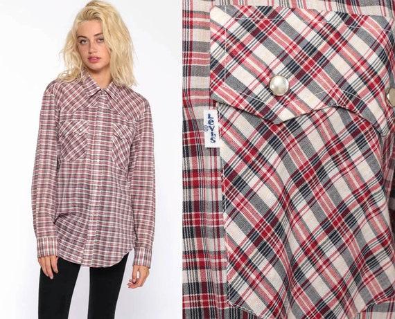 Plaid Levis Shirt Western Shirt 70s Plaid Shirt PEARL SNAP Button Up Levi Red Black 1970s Vintage Long Sleeve Medium Large
