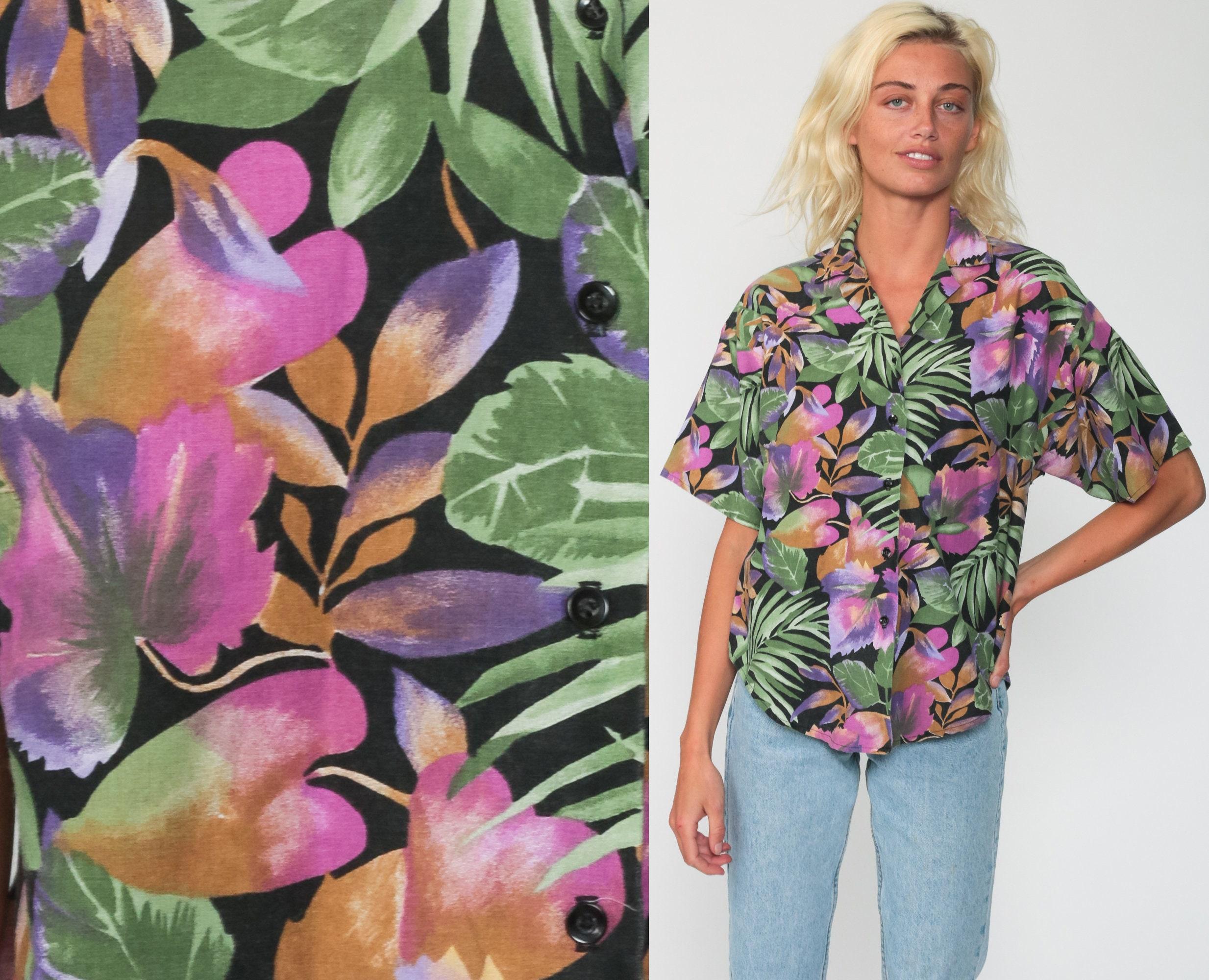 90s tropical leaf flower print shirt blouse