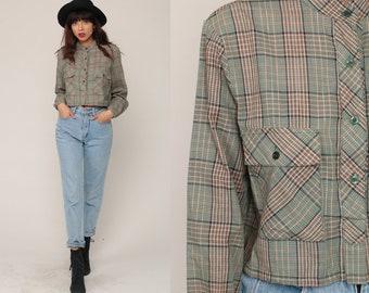Plaid Blouse 70s 80s CROP TOP Checkered Shirt METALLIC Shirt Button Up Shirt 1980s Long Sleeve Shirt Vintage Hipster Retro Medium Large