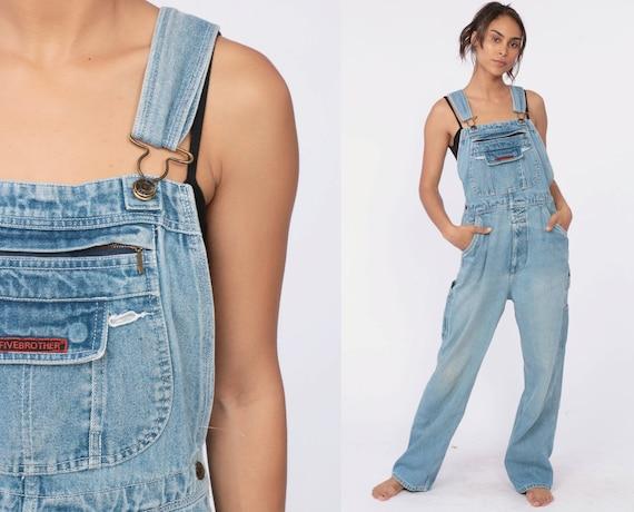 90s Denim Overalls FIVEBROTHER 1990s Denim Pants Bib Dungarees Long Jean Pants Workwear Boyfriend Biberalls Vintage Carpenter Small
