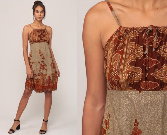 d7576971c42 Indian Batik Dress Floral Mini 90s Summer Boho Ethnic Hippie