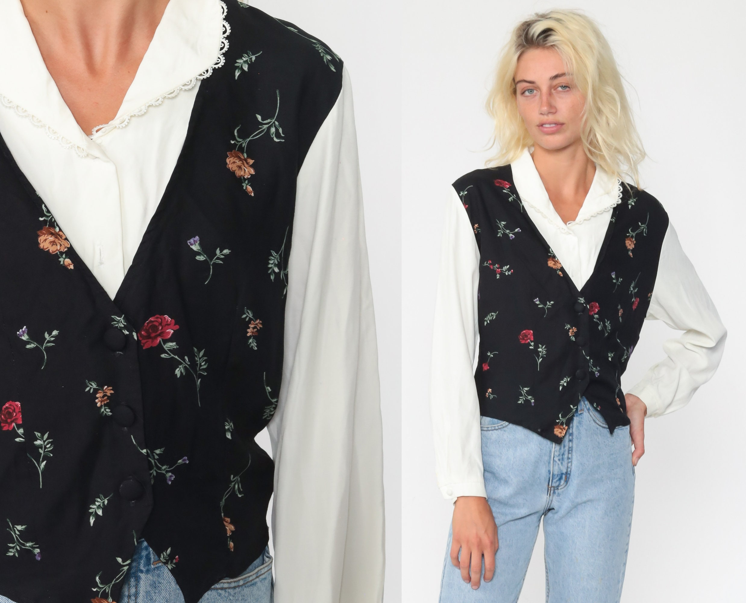 Vintage 90s Black and White Floral Pattern Blouse Shirt