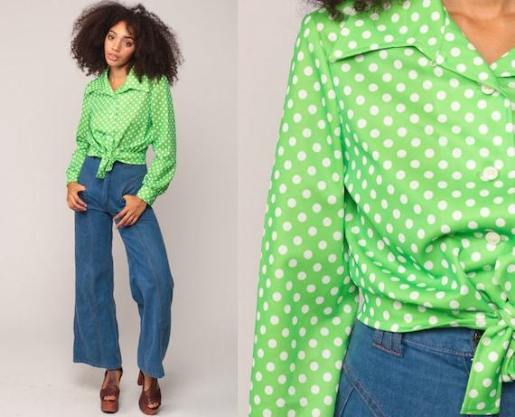 Cropped Blouse Lime Green Polka Dot Shirt Crop Top 70s Bohemian Button Up Disco Top Boho Hippie 1970s Hippie Long Sleeve Medium Large