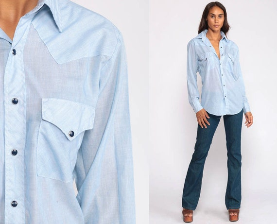 Pearl Snap Shirt Western Shirt 70s  Shirt Blue Pinstripe Oxford Long Sleeve Vintage  Cotton Poly Light Blue Button Up Retro Extra Small xs