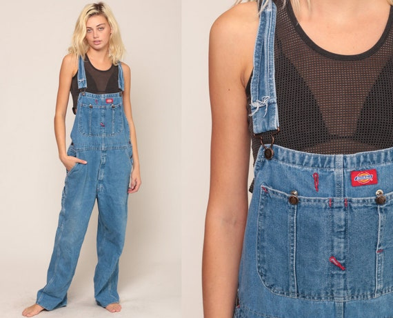 Dickies Overalls 90s Denim Bib Overalls Baggy Dungarees Long Jean Pants Grunge Pants Suspender Hipster Carpenter Large