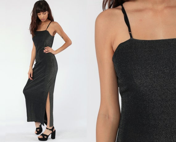 90s Party Dress METALLIC Black Silver Maxi High Slit Bodycon Y2K Sleeveless Long Party Spaghetti Strap Vintage Cocktail Pewter small