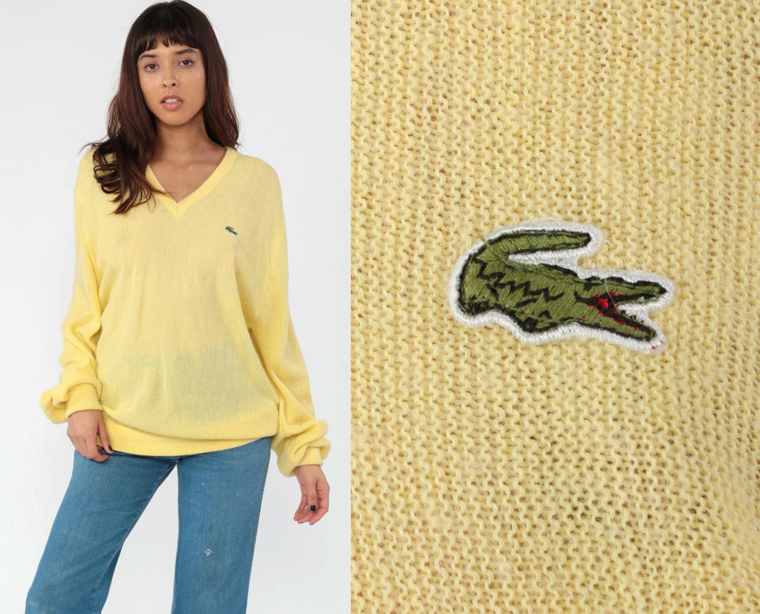 022275e19fc1a Yellow LACOSTE Sweater 80s Slouchy V Neck Izod Oversized Pullover Pastel  Vintage 1980s Preppy Slouch Crocodile Nerd Plain Medium Large