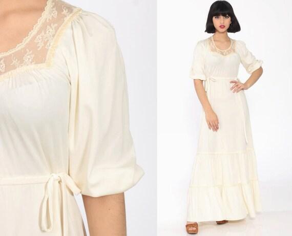 Long Boho Dress 70s Maxi Cream LACE Tiered Boho Puff Sleeve 1970s Bohemian Wedding Jody T High Waist Victorian Vintage Hippie Small Medium