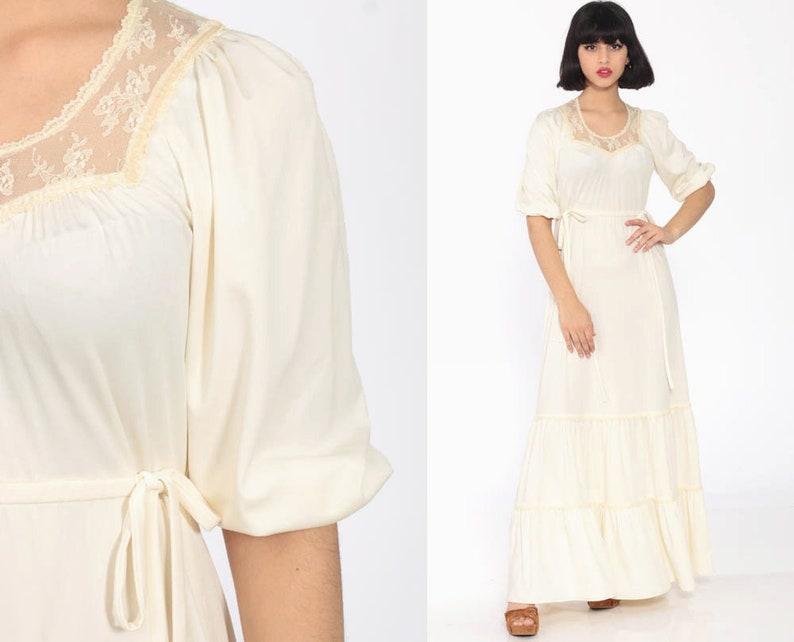 7259d65c515 Long Boho Dress 70s Maxi Cream LACE Tiered Boho Puff Sleeve