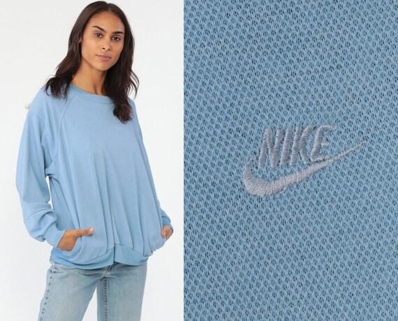 Nike Sweatshirt 90s Baby Blue Sports Shirt Nike Swoosh Streetwear Raglan Vintage Slouchy Plain 1990s Sportswear Crewneck Medium Large