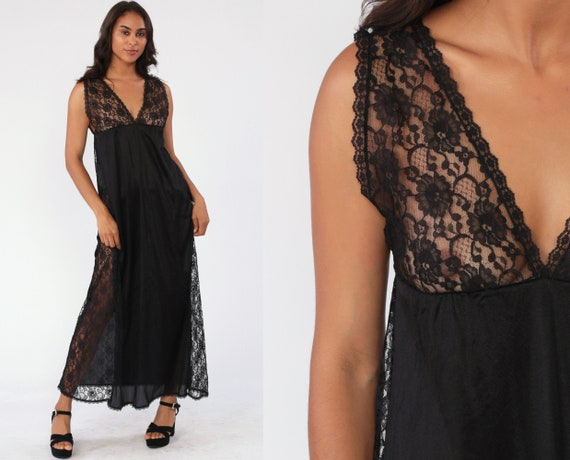 Black Nightgown Slip Dress 80s Maxi LACE Boho SHEER Lingerie Goth Vintage Gothic Empire Waist Deep V Neck Medium