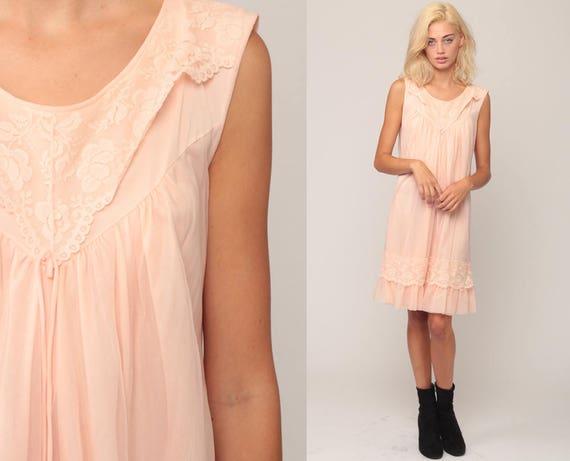 Pastel Nightgown Slip Dress Peach Nylon Nightgown Lingerie 70s Babydoll Lace Midi Nightie Pin Up Boho 1970s Vintage Ruffle Medium