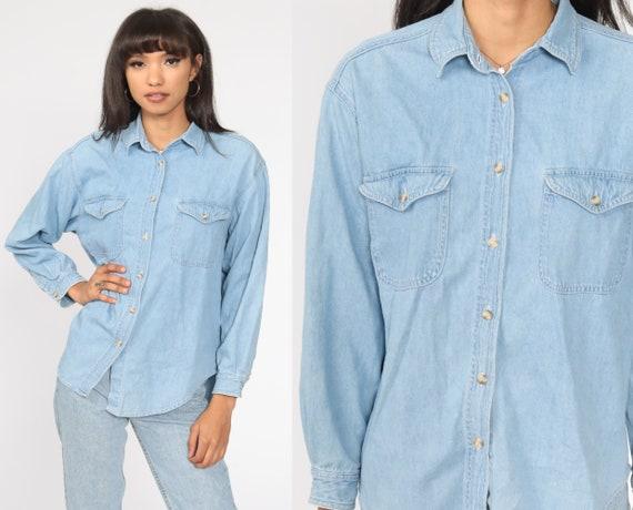 Blue Denim Shirt 90s Grunge Shirt Jean Shirt Button Up Top Vintage 1990s Long Sleeve Blue Medium