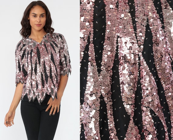 80s Sequin Shirt Beaded Top Pink Black Blouse Metallic Disco Top Bohemian Party Glam Striped Sparkle Blouse Trophy Boho 1980s Silk Medium