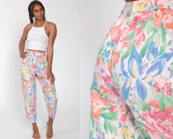 90s Floral Trousers Watercolor TAPERED Neiman Marcus Pants Grunge 1990s Pants High Waisted Trousers Vintage Bohemian Blue Extra Small xs