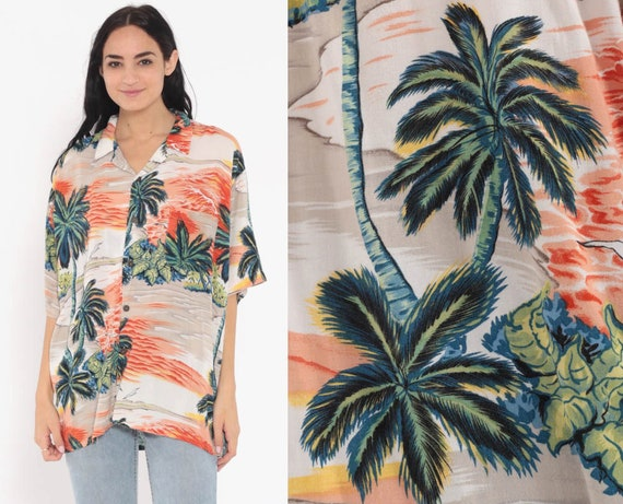 Tropical Shirt Hawaiian Shirt 80s PALM TREE Blouse Floral SURFER Button Up Shirt 90s Summer Top Beach Sea Orange Extra Large xl l