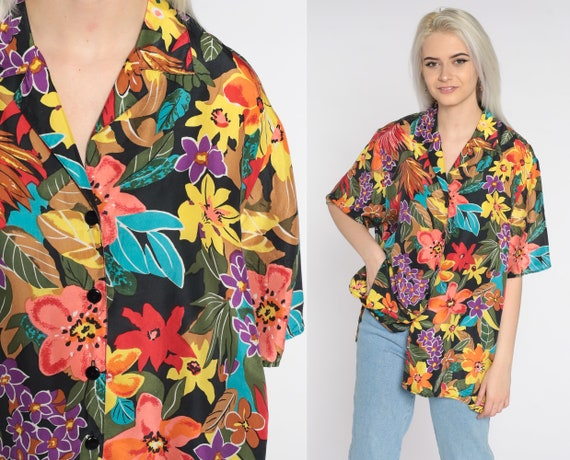 Silk Floral Shirt 90s Button Up Shirt Tropical Shirt 80s Long Sleeve Top 1990s Vintage Summer Shirt Men's Extra Large xl