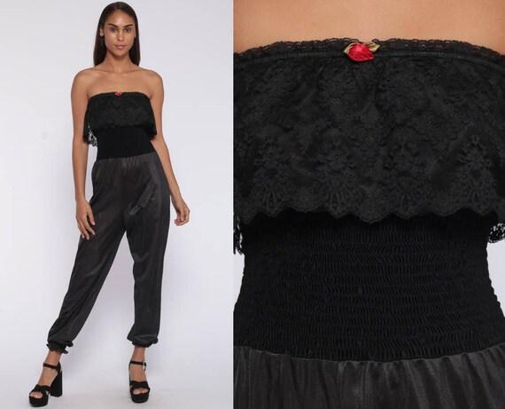 Lingerie Jumpsuit 80s Jumpsuit -- Lace Romper Pants Baggy Harem Black Onesie Vintage Pantsuit Nylon Strapless Genie Extra Small xs