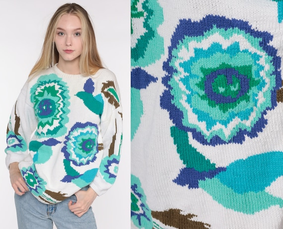 Cotton Floral Sweater 90s Boho White Graphic Print Sweater Grunge Knit Slouchy 1990s Pullover Vintage Hipster Jumper Green Blue Medium