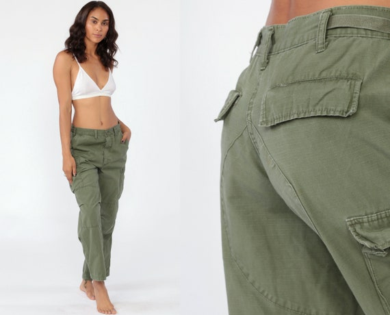 Army Pants Cargo Pants MILITARY High Waisted Combat Olive Green 90s Vintage Utility Punk Grunge Olive Drab Army Pockets 1990s  Medium