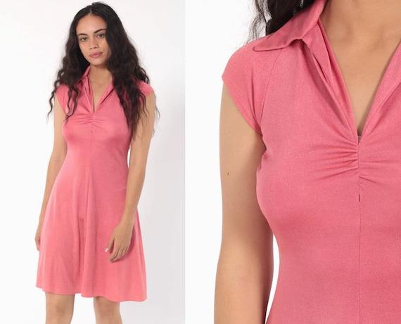 Pink Grecian Dress 70s Mini Party V Neck Dress Vintage Cap Sleeve Minidress Flared 1970s Grecian Bohemian Collared Retro Extra Small xs