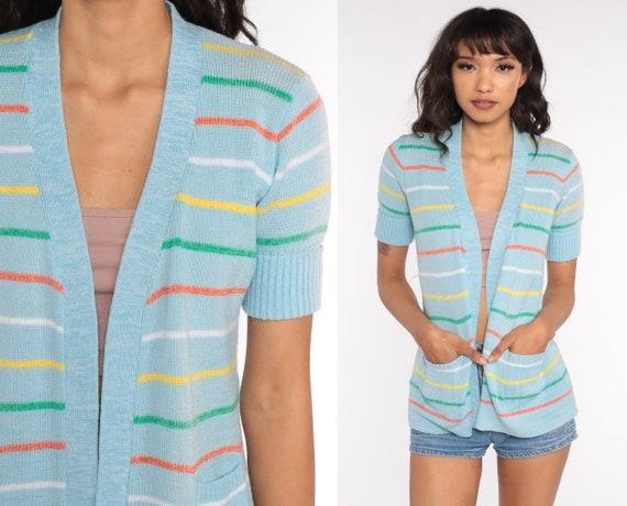 Wrap Cardigan Striped Sweater Top 70s Hippie Boho Sweater Baby Blue 1970s Short Sleeve Knit Vintage Bohemian Hippie Pastel Medium
