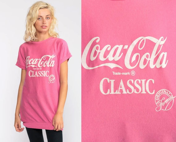 Coke Shirt Coca Cola T Shirt 80s Graphic Tshirt Pink 1980s Vintage Retro Tee Medium Large