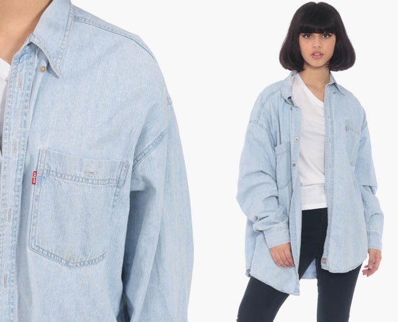 90s LEVIS Denim Shirt Button Up Shirt Jean Shirt 1990s Blue Grunge Long Sleeve Cotton Oversized Button Down Extra Large xl l