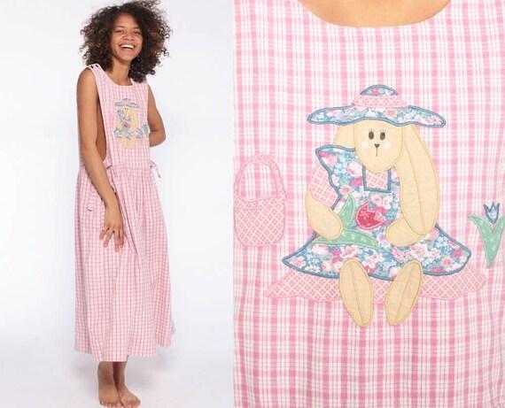 Bunny Jumper Dress Pink Checkered Overall 80s Midi Vintage Rabbit Picnic Kawaii Pinafore Drop Waist Sleeveless Low Armhole Pastel Medium