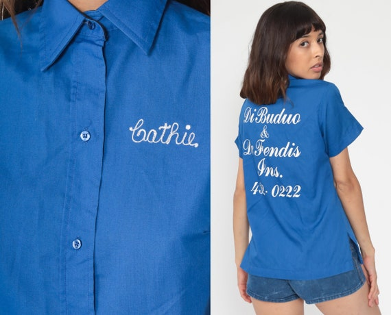 Uniform Shirt Cathie Shirt Bowling Shirt 70s Rockabilly Punk 1970s Button Up Vintage Blue Medium