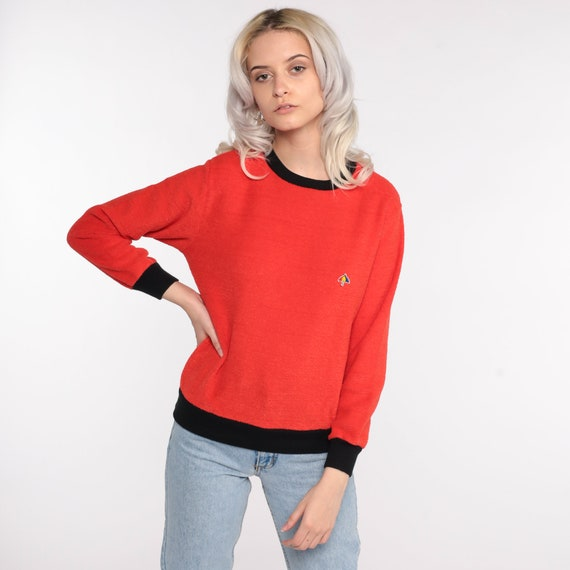 Terry Cloth Sweater 70s Red-Orange Umbrella Shirt… - image 3