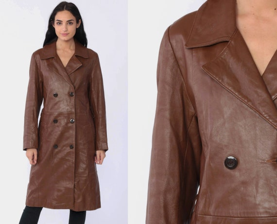 Faux Leather Jacket 70s Bohemian Brown Vegan Leather Trench Coat Button Up 1970s Boho Hippie Vintage Medium