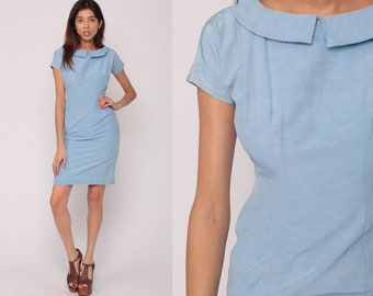 1950s Dress Wiggle Sheath Fitted Dress Baby Blue Peter Pan Collar 50s Mad Men Mini Hourglass Pencil Vintage Cap Sleeve Extra Small xs