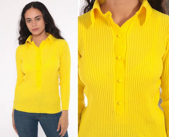 Yellow Knit Top 70s Neon Shirt Long Sleeve Sweater Top Retro Button Up Shirt Ribbed Boho Hippie 1970s Seventies Small Medium