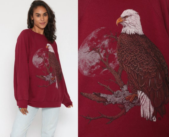 Eagle Sweatshirt Animal 80s Bald EAGLE Shirt Graphic Print Moon Jumper Slouchy Sweater Vintage Burgundy Screen Print Extra Large 2XL xxl