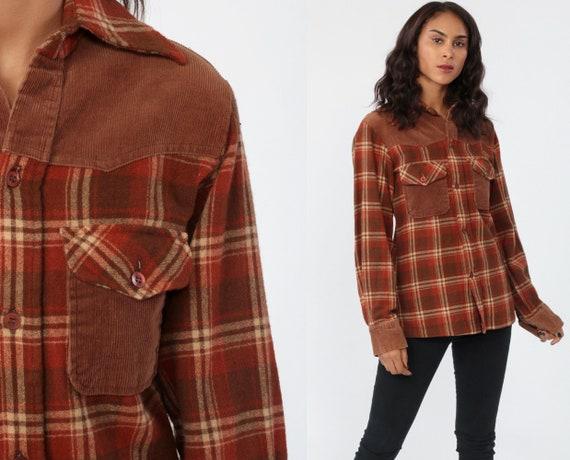 Wool Flannel Shirt Brown PLAID 70s Grunge Corduroy Yoke Western Long Sleeve Button Up 1970s Vintage Lumberjack Retro Small xs