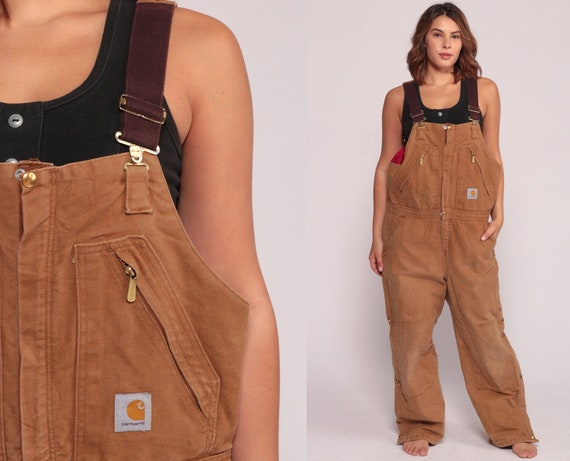 Carhartt Overalls Mens Workwear Coveralls Baggy Pants Cargo Dungarees QUILTED Brown Suspender Pants Long Wide Leg Bib Vintage Extra Large xl